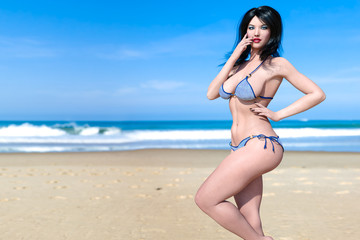 3D beautiful woman swimsuit bikini on sea beach. Summer rest. Blue ocean background. Sunny day. Conceptual fashion art. Seductive candid pose. Realistic render illustration.