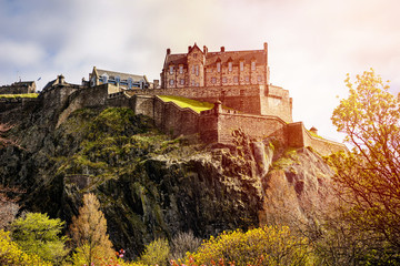 Edinburgh Castle in Spring Season, Scotland At Sunrise