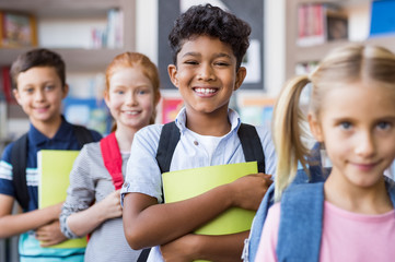 School children standing in a row