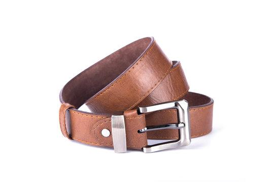 Brown belt on white background. belt. Brown belt on isolate background