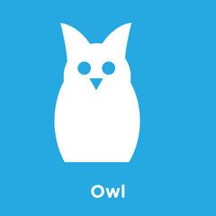 Owl icon isolated on blue background