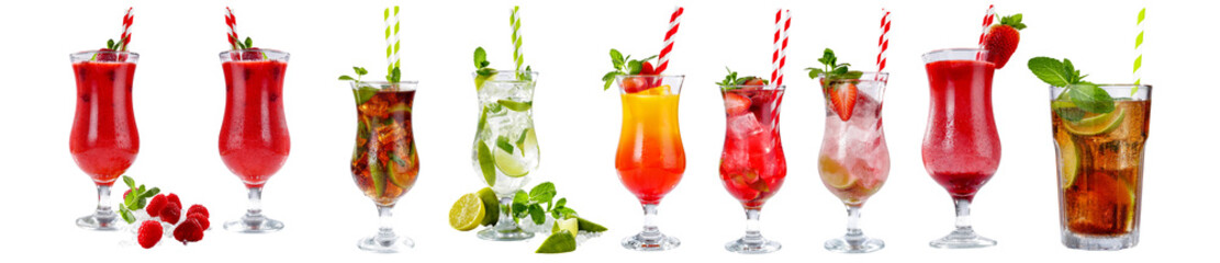 summer drinks on white background