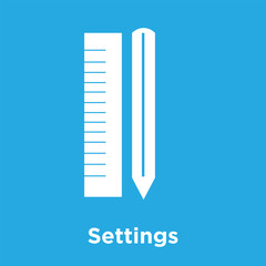 Settings icon isolated on blue background