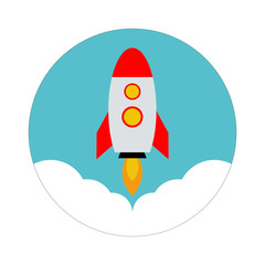 Rocket vector icon. Start up concept symbol space rocket ship in trendy flat style isolated on blue background