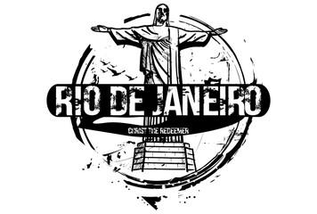 Christ The Redeemer. Rio De Janeiro, Brazil city design. Hand drawn illustration.