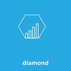 diamond icon isolated on blue background