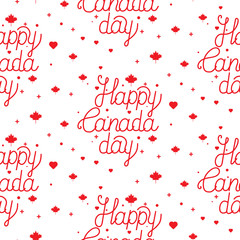 Happy Canada Day hand drawn typography design. Lettering illustration.