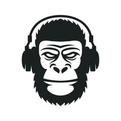 Monkey in headphones mascot