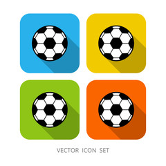 Set of 4 colorful square cartoon soccer ball. Flat vector illustration. Football. It can be used as - logo, pictogram, icon, infographic element.
