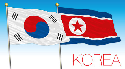 Korea, South Korea and North Korea flags