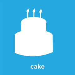 cake icon isolated on blue background