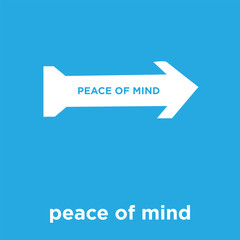 peace of mind icon isolated on blue background
