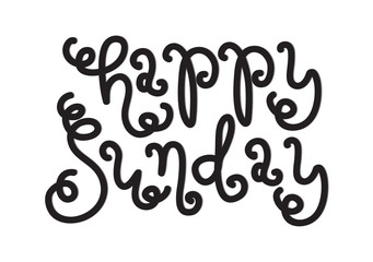 Hand Lettered Happy Sunday. Modern Calligraphy. Printable