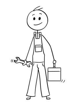 Cartoon stick man drawing conceptual illustration of male worker or repairman with wrench and tool box or toolbox.
