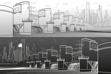 Hydro power plant. River Dam. Energy station. City infrastructure industrial illustration panorama. White and black lines on light and dark background. Vector design art