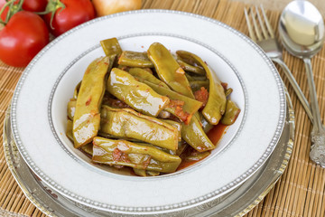 Turkish foods; green bean with olive oil (zeytinyagli fasulye)
