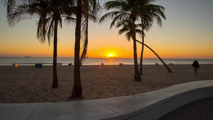 Fototapete - Fort Lauderdale beach o in the rays of the rising sun. Raw video source.