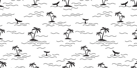 palm tree coconut tree seamless pattern shark fin dolphin whale vector ocean wave island tropical isolated background wallpaper repeat