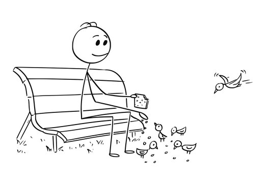 Cartoon stick man drawing conceptual illustration of businessman relaxing on park bench and feeding birds. Business concept of relaxation, revenue and pension.