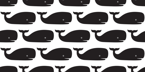 whale dolphin Seamless Pattern vector shark fin tail isolated repeat background wallpaper illustration