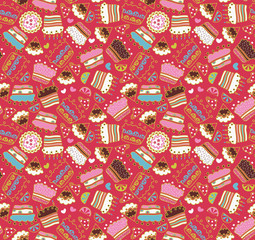 Cake,sweets seamless doodle pattern
