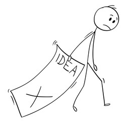 Cartoon stick man drawing conceptual illustration of businessman trailing big paper sheet with idea text rejected by superior. Business concept of suppressed creativity .