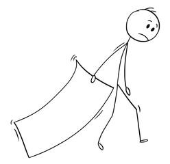 Cartoon stick man drawing conceptual illustration of businessman trailing big paper sheet.