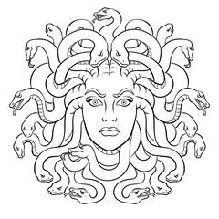 Medusa greek myth creature coloring vector