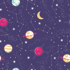 Universe with planets and stars seamless pattern, cosmos starry night sky, vector illustration