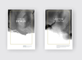 Elegant brochure template design ink brush element