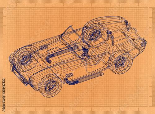 Classic old car retro blueprint stock photo and royalty free classic old car retro blueprint malvernweather Images