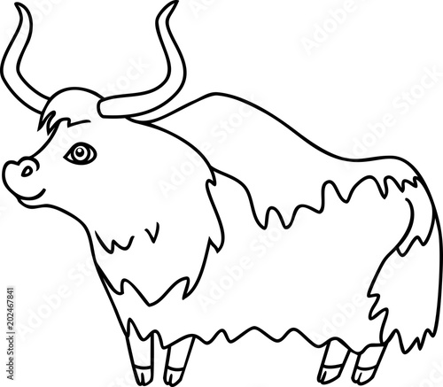 Wild Cartoon Yak Coloring Page
