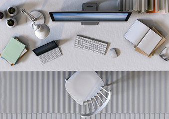 top view interior design for working area with Desktop computer. 3d rendering