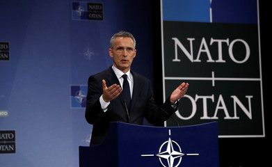 NATO's Secretary General Jens Stoltenberg gives a news conference at the Alliance's headquarters in Brussels