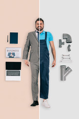 young man in two occupations of plumber and businessman on different backgrounds
