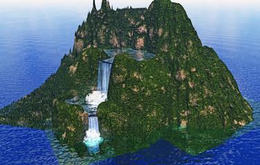 Bergrücken mit Wasserfall