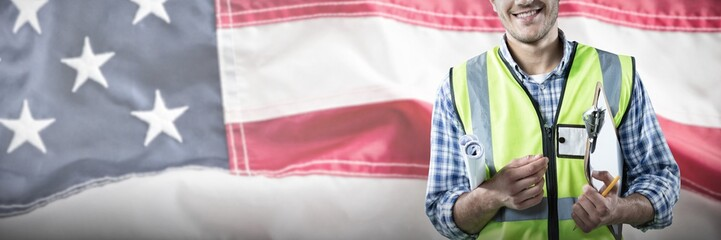 Composite image of happy construction worker