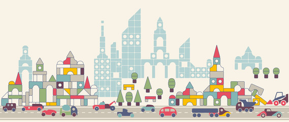 seamless pattern city toy cars
