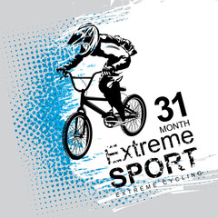Vector banner or flyer with words Extreme sport and a cyclist on the bike. Abstract poster of BMX competitions motocross template for promoting extreme mountain biking