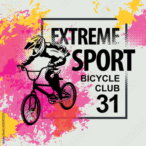 Vector Banner Or Flyer With Words Extreme Sport And A Cyclist On The