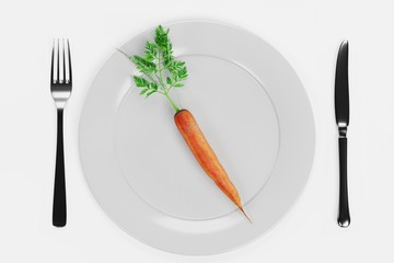 3D Render of Carrot on Plate