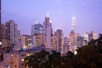 Skyline of Chung Wan (Central District), Hong Kong Island, Hong Kong, China, Asia