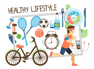 Flat Active Lifestyle Composition