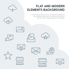 cloud and networking, email, shopping outline vector icons and elements background concept on grey background.Multipurpose use on websites, presentations, brochures and more