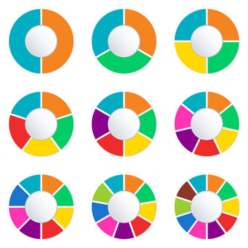 Wheel infographics template. Pie chart set with 2,3,4,5,6,7,8,9 and 10 parts or sections. Circle diagram, graph, business presentation and chart. Vector illustration.