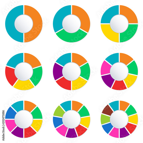 Wheel infographics template  Pie chart set with 2,3,4,5,6,7