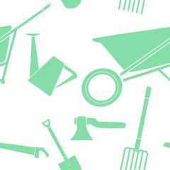 pattern composed of garden equipment_2 / seamless pattern composed of green garden equipment icons such as watering can, wheelbarrow, hose, shovel, rake