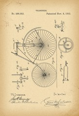 1892 Patent Velocipede Bicycle history  invention