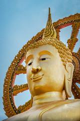 Goldene Touristenattraktion Großer Buddha (Kopf) auf Koh Samui, Thailand