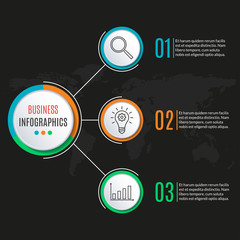 3 steps circle infographics template. Business process background with 3 options, levels. Data visualization, presentation, diagram, workflow layout, flow chart, web elements. Vector illustration.